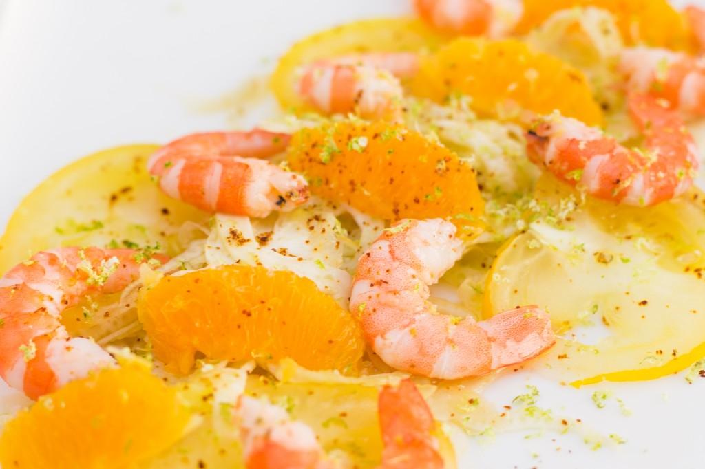 Salade fraîcheur crevettes fenouil orange