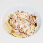 Raviolis au  gorgonzola et écume au lard fumé